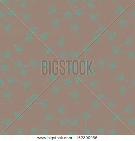 Abstract vector seamless pattern with stylized floral elements similar to dill or fennel.Teal blue on gray background repeat. Hand drawn illustration.