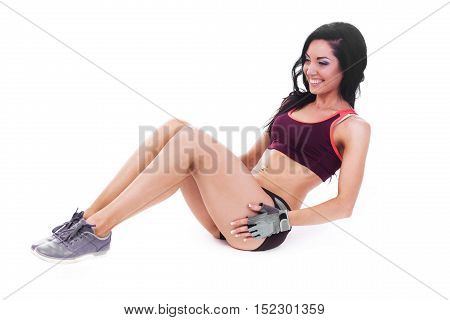 sporty woman fitness pilates exercices isolated white