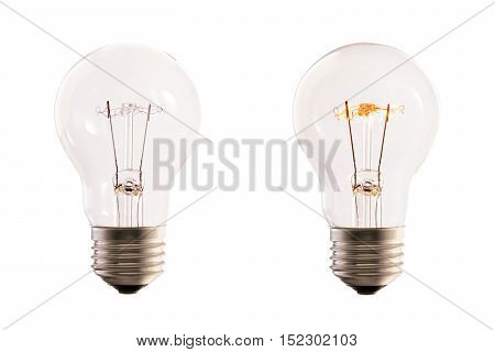lamp bulb halogen one on and one off against white background