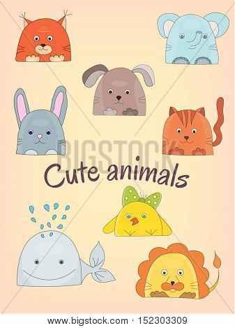 Cute animals collection Vector illustration Wild and home animals