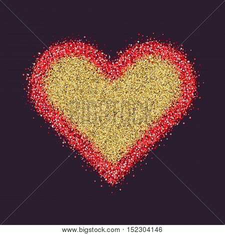 Valentine's Day symbol. Heart. Red sparkles and glitter Vector illustration