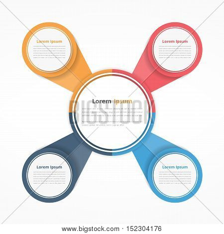 Circle diagram with four elements steps or options, flowchart or workflow diagram template, vector eps10 illustration