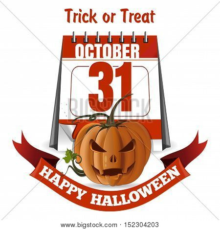 Jack-o'-lantern on a background of a halloween calendar. Happy Halloween. 31st October. Vector illustration isolated on white background