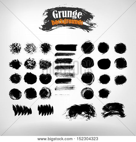 Vector set grunge painted elements. Vector grunge background. Grunge banner. Grunge texture. EPS 10.