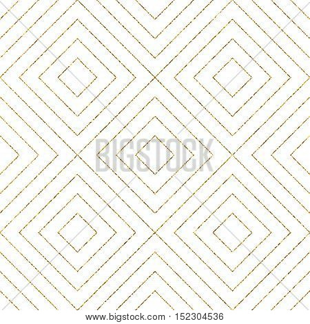 Geometric seamless pattern of gold diagonal lines or stripes, abstract golden seamless background of rhombus, square