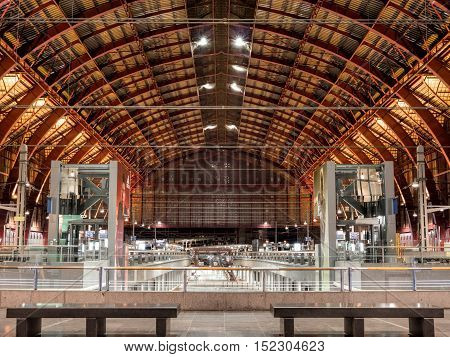 ANTWERP, BELGIUM - 10 SEPT. 2016: Interior of the Central Railway Station in the city of Antwerp, Belgium at night. It is considered one of the most beautiful in Europe.