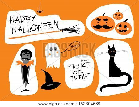 Vector Set. Hand written text Happy Halloween and Trick or Treat, cartoon Ghost, Hat and Broom, Vampire, Black Cat and Pumpkins with mustache.