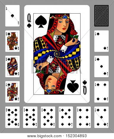Playing cards of Spades suit and back on green background. Colorful original design. Vector illustration