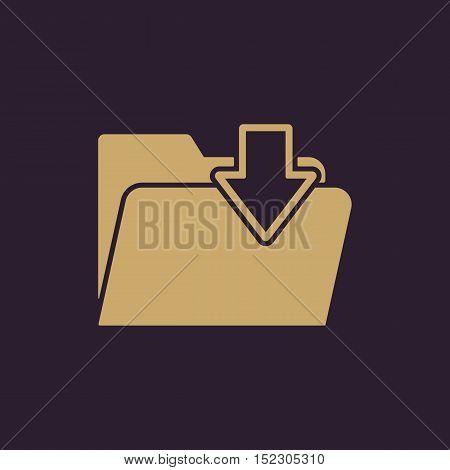 The folder icon. File download symbol. Flat Vector illustration