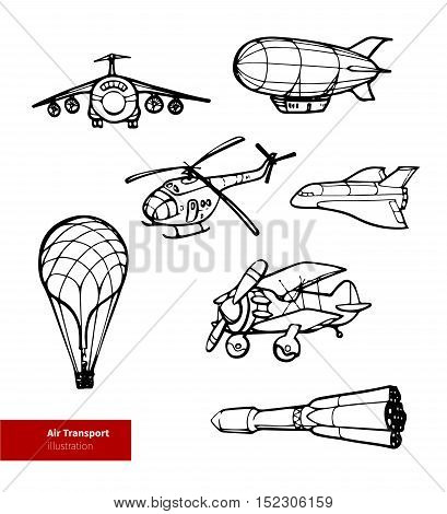 Vector Air Transport Illustration. Black on White Background.