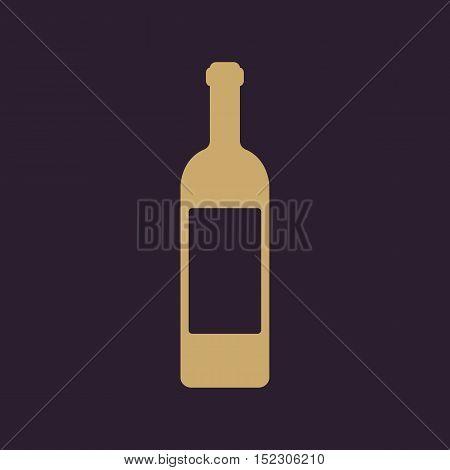 The wine icon. Bottle symbol. Flat Vector illustration