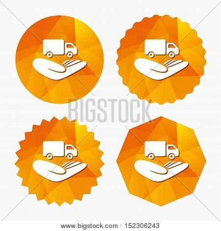 Company vehicles insurance sign icon. Hand holds delivery truck. Protection vehicle from damage and accidents. Triangular low poly buttons with flat icon. Vector