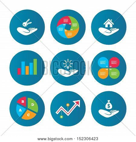 Business pie chart. Growth curve. Presentation buttons. Helping hands icons. Financial money savings insurance symbol. Home house or real estate and lamp, key signs. Data analysis. Vector