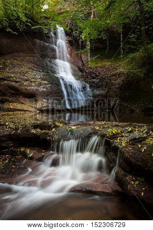 The waterfalls in Pwll y wrach Nature Reserve near Talgarth, South Wales.