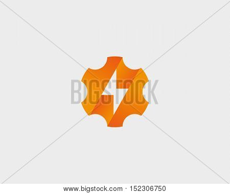 Abstract cog wheel with flash logo design template. Geometric gear fast quick thunderbolt logotype. Universal energy tech rapid app vector icon symbol.