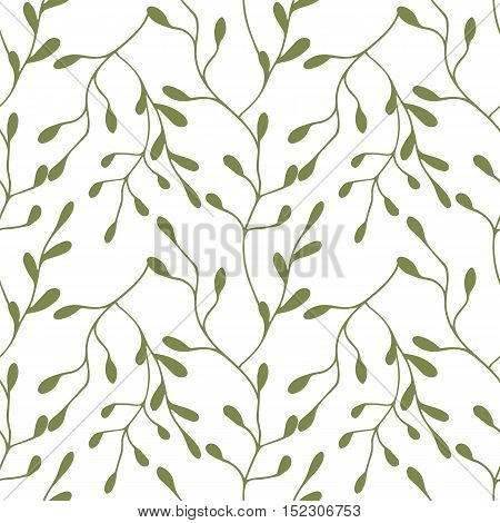 Seamless pattern with stylized twigs and leaves in green color on white background. Hand drawn vector illustration.