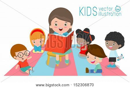 cute Kids Listening to Their teacher Tell a Story, reading books, teacher reading books for child in the kindergarten, teacher and kids, Children enjoy listening to stories teacher reading books