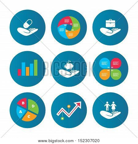 Business pie chart. Growth curve. Presentation buttons. Helping hands icons. Protection and insurance symbols. Financial money savings, health medical insurance. Human couple life sign. Data analysis