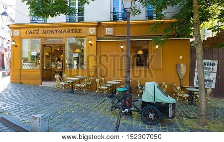 Paris France-July 09 2016: The traditionnal French cafe Montmartre located in picturesque Montmartre district of Paris.