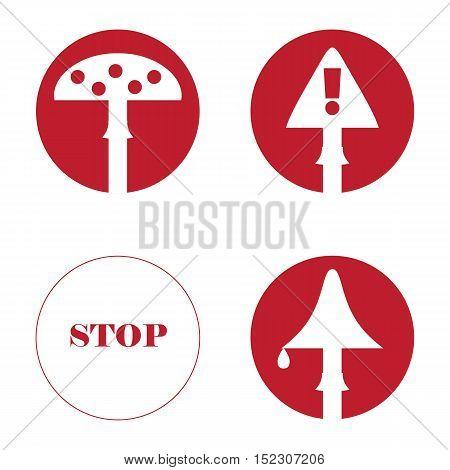 Several images of mushrooms. Warning symbols in the circle