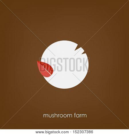 Mushroom top view. Logo for the mushroom farm