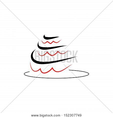 Cake lines on a white background the logo of the pastry shop. Abstract vector illustration