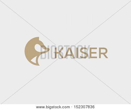 Abstract animal logo design template. Dog wolf fox pet vector logotype