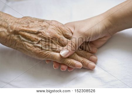 Hand of young boy holding hand of old man isolate background