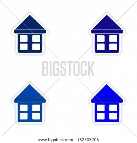 assembly realistic sticker design on paper houses blue