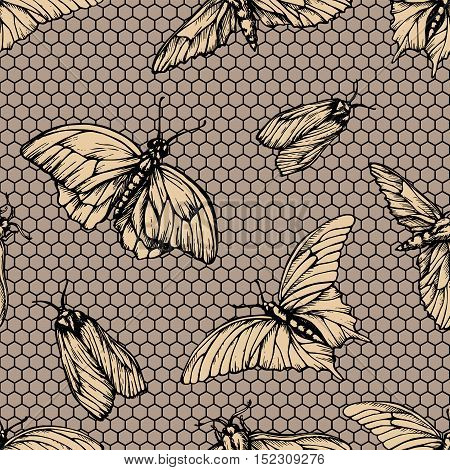 Vector seamless pattern with butterflies on net . Stylish graphic lattice texture. Repeating print in yellow color old-styled background.