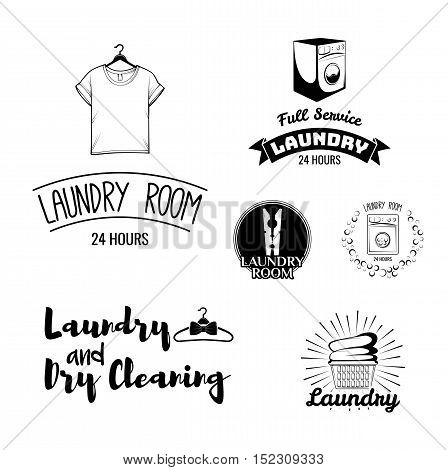 Laundry Room and Dry Cleaning Labels. T-shirt, Washing Machine, wooden cloth peg, linen basket. Vector Illustration