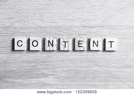 Business content word collected of elements of wooden elements with the letters