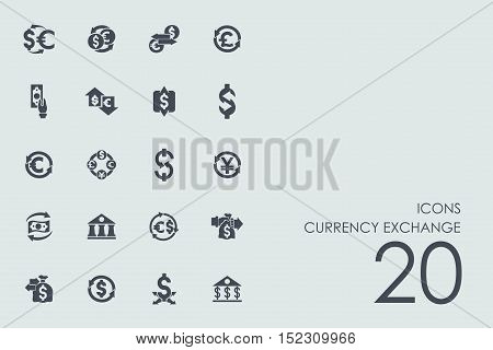 currency exchange vector set of modern simple icons