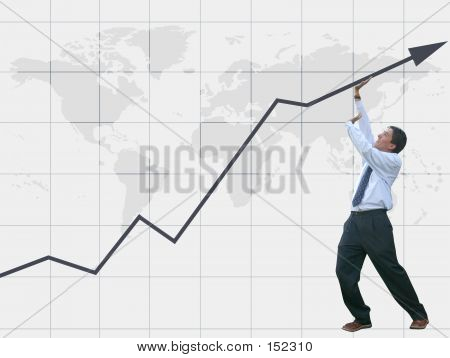 Business Man Pushing Graph Up - Success