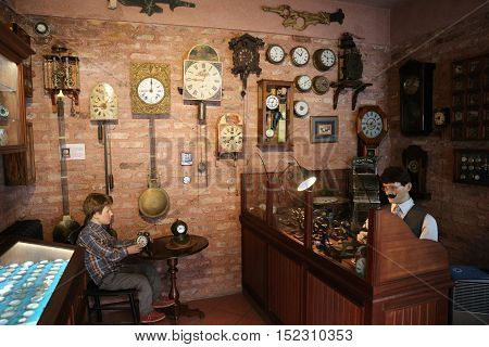 ISTANBUL TURKEY - JULY 29 2016: Old watchmaker recreation in Rahmi M. Koc Industrial Museum. Koc museum is industrial Museum dedicated to history of transport industry and communications