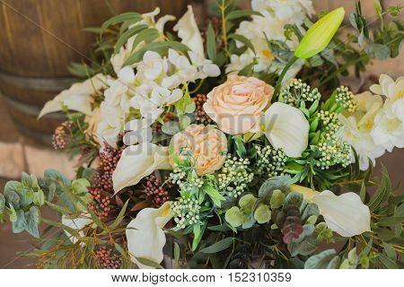 Bride bouquet close up, wedding decor, flower