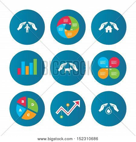 Business pie chart. Growth curve. Presentation buttons. Hands insurance icons. Shelter for pets dogs symbol. Save water drop symbol. House property insurance sign. Data analysis. Vector