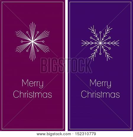 minimalistic set of two christmas greeting cards with snowflake and text Merry Christmas on dark pink and dark violet background size DL vector illustration