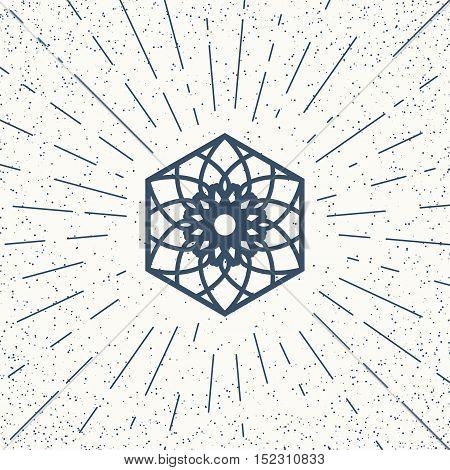 Asian linear hexagon ornament. Vector decorative geometric symbol.