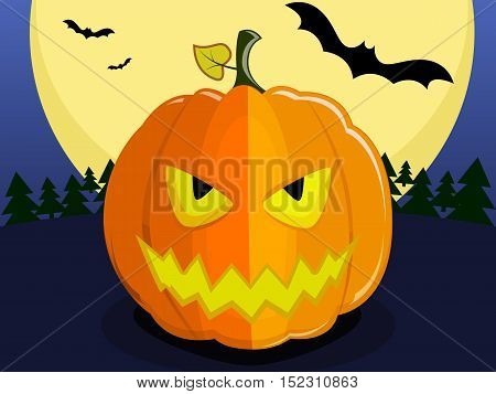 Pumpkin for Halloween on background of the full moon. Pumpkin with an evil smile, bats