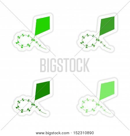 assembly realistic sticker design on paper air kite green