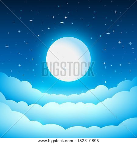 Full moon in the night sky. Fairy Tale cover