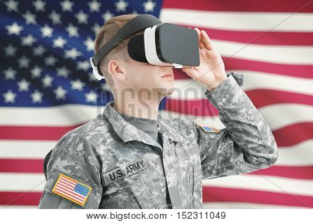 Indoors Shot Of Usa Soldier Wearing Vr Glasses With American Flag On Background