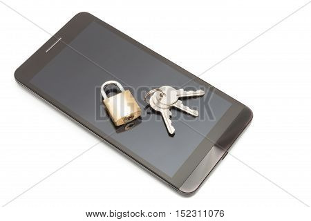 Smartphone With Small Lock And Keys Over It. Mobile Phone Security And Data Protection Concept