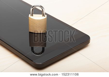 Smartphone With Small Lock. Mobile Phone Security And Data Protection Concept