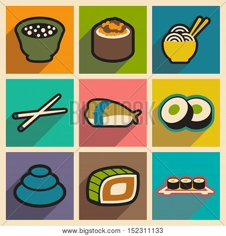 Flat with shadow concept Japanese food on stylish backgrounds