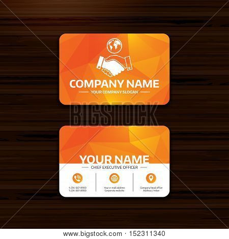 Business or visiting card template. World handshake sign icon. Amicable agreement. Successful business with globe symbol. Phone, globe and pointer icons. Vector