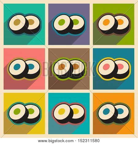 Flat with shadow concept Sushi rolls stylish background