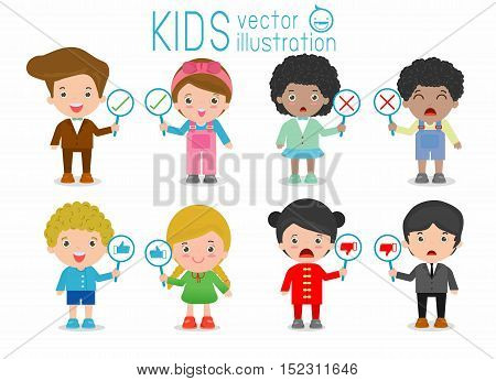kids have a plate of sign to answer correct or incorrect, kids hand thumb up with true and false sign,Vector illustration of positive and negative feedback, child and sign, kids and sign, kids sign