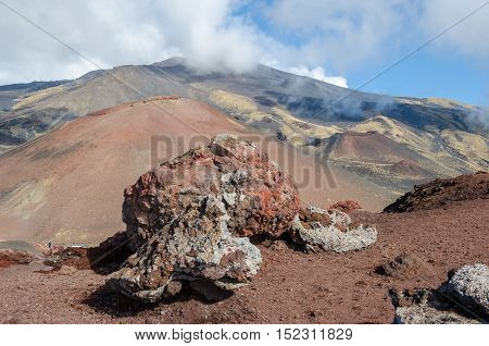 Southern flank of Mount Etna an active stratovolcano on the east coast of Sicily Italy showing lateral crater and lava rocks to the right from cableway of Sapienza Refuge ski area.
